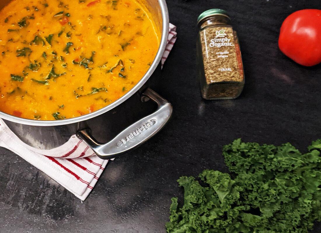 Image of Kale Lentil Soup in a pot